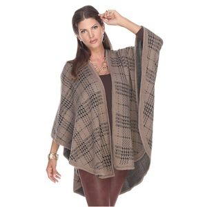 Cashmere Feel Mocha Herringbone Wrap